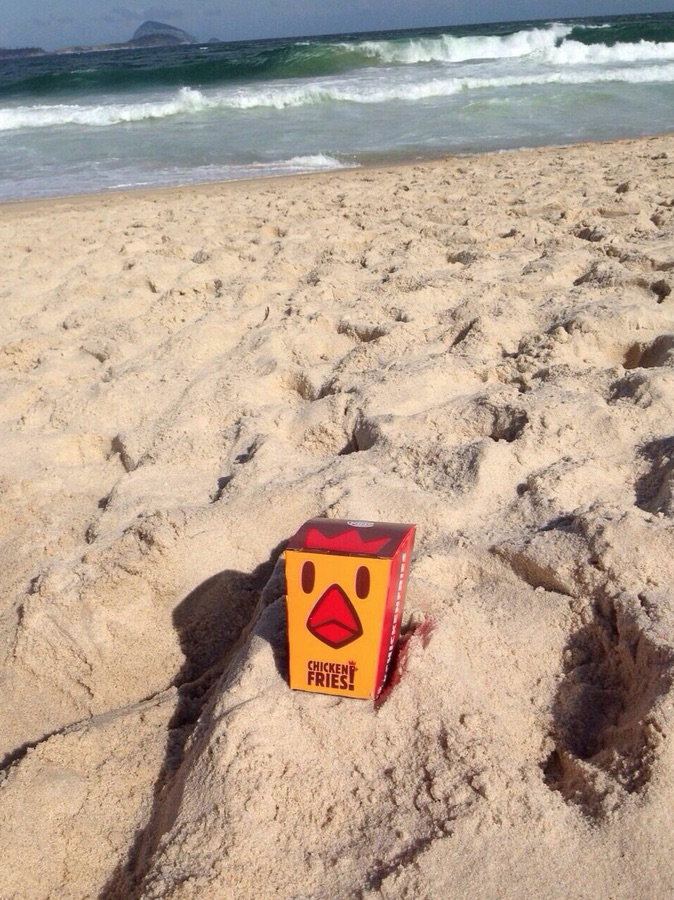 Chicken fries na praia