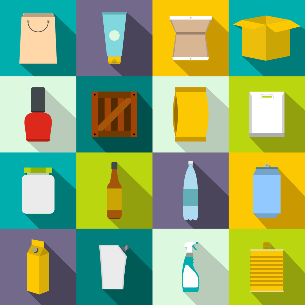 Packaging flat icons set for web and mobile devices